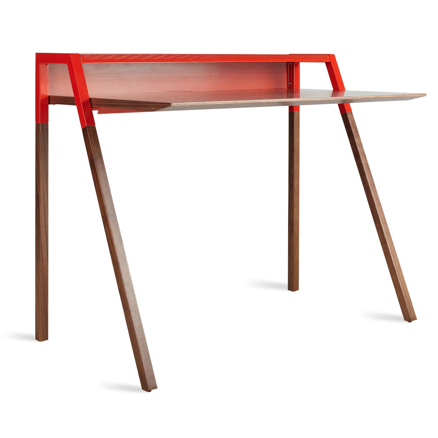 Previous image Cant Small Modern Study Desk - Walnut / Red ...