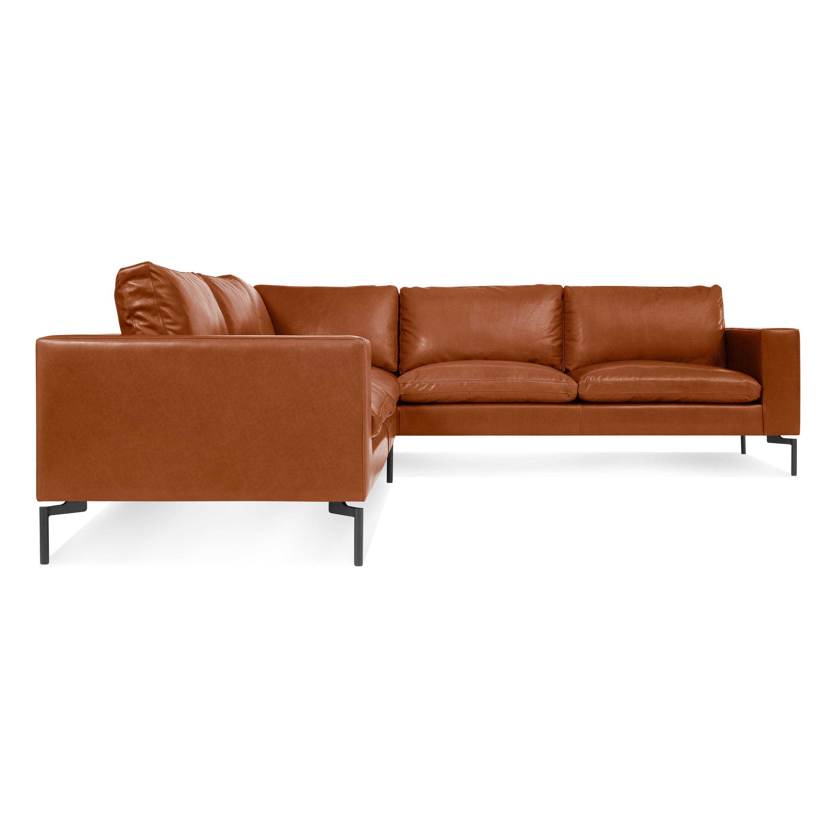 Previous image New Standard Right Leather Sectional Sofa - Small - Toffee Leather / Black ...  sc 1 st  Blu Dot : small white leather sectional - Sectionals, Sofas & Couches